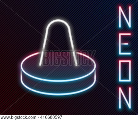 Glowing Neon Line Mallet And Puck For Playing Air Hockey Game Icon Isolated On Black Background. Col