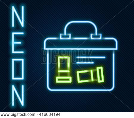 Glowing Neon Line Military Ammunition Box With Some Ammo Bullets Icon Isolated On Black Background.