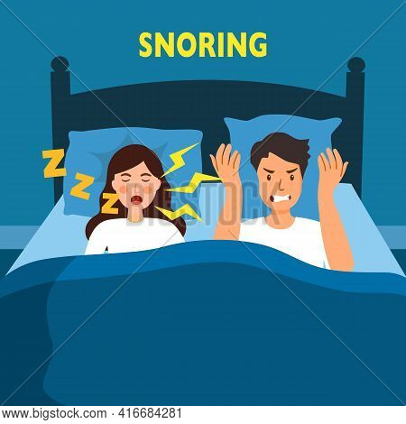 Snoring Wife Annoying Husband With Loud Noise In Bedroom Vector Illustration. Snore Health Problem.