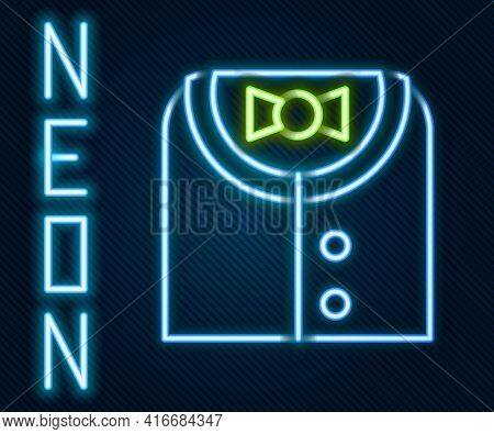 Glowing Neon Line Suit Icon Isolated On Black Background. Tuxedo. Wedding Suits With Necktie. Colorf