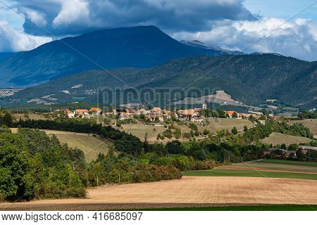 Scenic View On The Trieves Valley With The Vercors Mountain Range Near Bourg Saint Maurice Village F