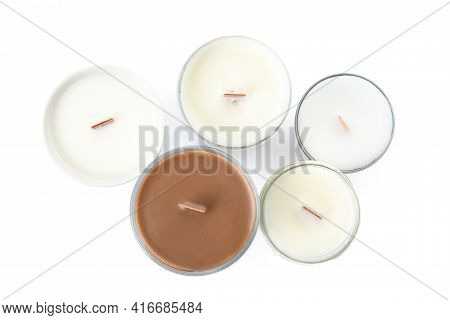 Beautiful Candles With Wooden Wicks On White Background, Top View