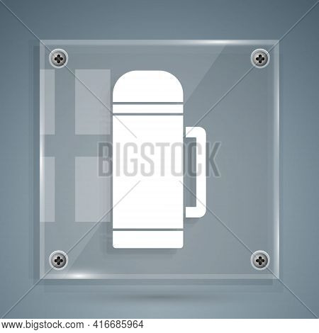 White Thermos Container Icon Isolated On Grey Background. Thermo Flask Icon. Camping And Hiking Equi