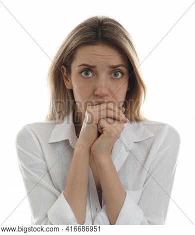 Young Woman Feeling Fear On White Background