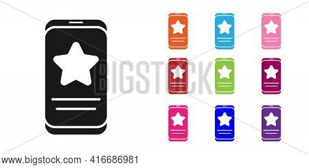 Black Mobile Phone With Review Rating Icon Isolated On White Background. Concept Of Testimonials Mes