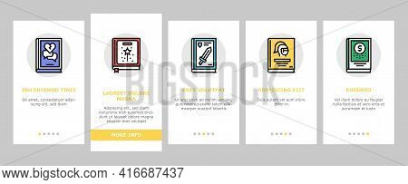 Literary Genres Books Onboarding Mobile App Page Screen Vector. Drama And Fairy Tale, Fantasy And Hi