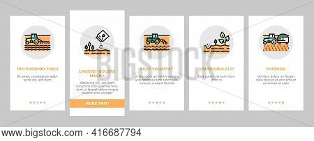 Sowing Agricultural Onboarding Mobile App Page Screen Vector. Sowing Seeds And Field Processing, Pla