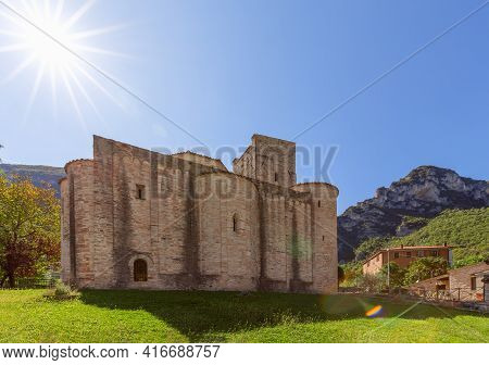 View Of Roman Catholic Abbey (san Vittore Alle Chiuse) In The Comune Of Genga, Marche, Italy