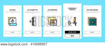 Insulation Building Onboarding Mobile App Page Screen Vector. Insulation Roll Material And Wooden Pl