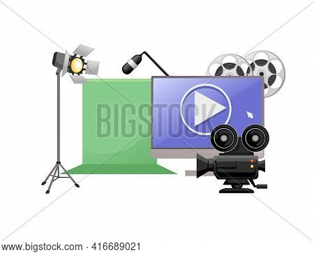 Video Or Film Production Cinematography Concept Media Player On Monitor With Green Screen And Profes