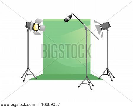 Video Or Film Production Cinematography Scene Concept Green Screen And Professional Tools Microphone
