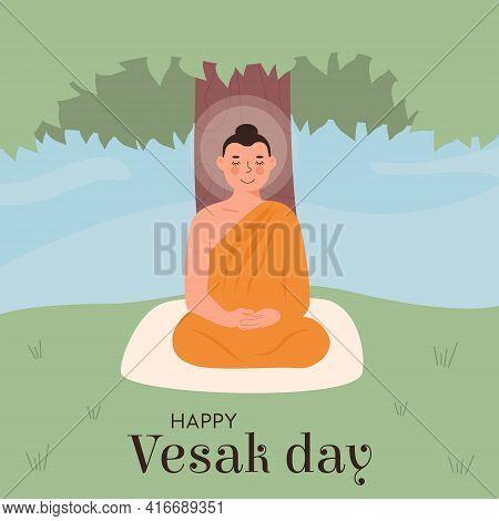 Happy Vesak Day. Sanskrit Translation Festival Of Buddha Birth. Cute Lord Buddha In Yellow Robe Medi