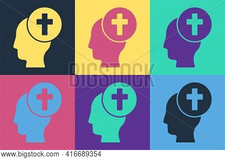 Pop Art Man Graves Funeral Sorrow Icon Isolated On Color Background. The Emotion Of Grief, Sadness,