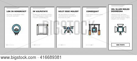 Photography Device Onboarding Mobile App Page Screen Vector. Mobile Phone And Photo Camera, Go Pro A