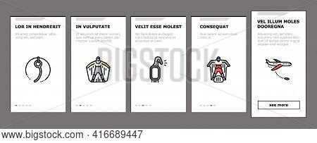 Wingsuiting Sport Onboarding Mobile App Page Screen Vector. Wingsuiting Suit And Protection Helmet,