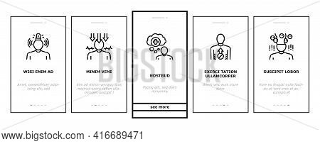 Psychological Problems Onboarding Mobile App Page Screen Vector. Depression And Bipolar Disorder, Sc