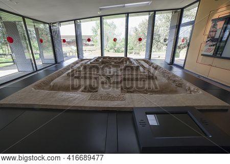 Zalamea De La Serena, Spain - April 4th, 2021: Scale Model Of Palace-shrine Building In Cancho Roano