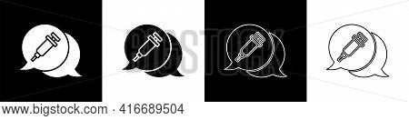 Set Addiction To The Drug Icon Isolated On Black And White Background. Heroin, Narcotic, Addiction,