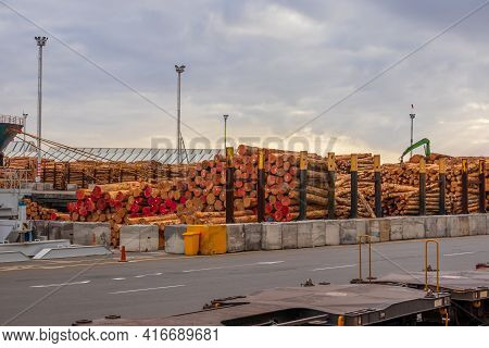 Lots Of New Zealand Logs Waiting To Be Ship Of Seas.