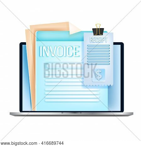 Online Invoice, Digital Bill, Internet Tax Receipt Vector Audit Concept, Laptop, Isolated On White.