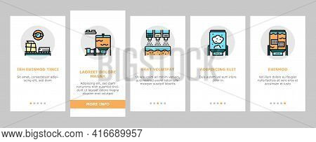 Paper Production Plant Onboarding Mobile App Page Screen Vector. Wood Chips And Chemical Recovery, E