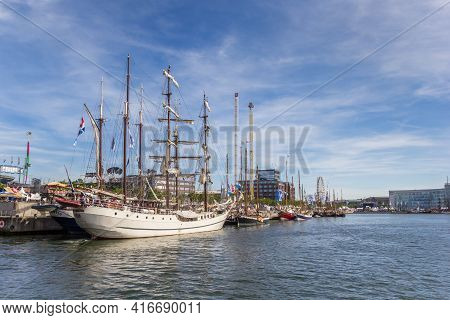 Kiel, Germany - June 24, 2019: Tall Ships At The Quay During Kieler Woche Festival In Kiel, Germany