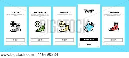 Socks Fabric Accessory Onboarding Mobile App Page Screen Vector. Socks For Men And Women, Toe Cover