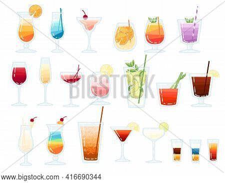 Big Collection Of Tropical Exotic Alcoholic And Non Alcoholic Cocktails Vector Illustration On White