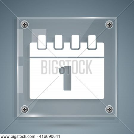 White Calendar With First September Date Icon Isolated On Grey Background. September 1. Date And Tim