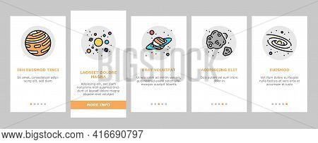 Galaxy System Space Onboarding Mobile App Page Screen Vector. Milky Way Galaxy Planet And Sun, Falli