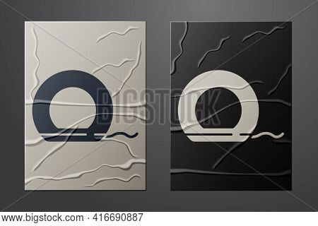 White Dental Floss Icon Isolated On Crumpled Paper Background. Paper Art Style. Vector