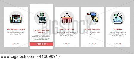 Supermarket Store Onboarding Mobile App Page Screen Vector. Supermarket Cart And Basket, Cash Regist