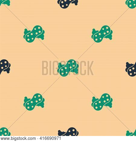 Green And Black Sponge With Bubbles Icon Isolated Seamless Pattern On Beige Background. Wisp Of Bast