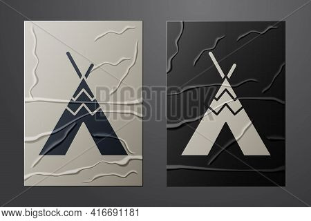 White Traditional Indian Teepee Or Wigwam Icon Isolated On Crumpled Paper Background. Indian Tent. P