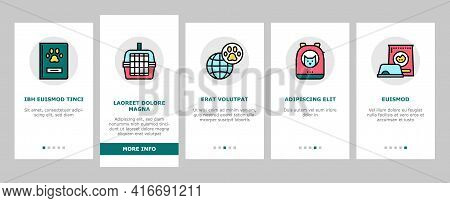 Pet Travel Equipment Onboarding Mobile App Page Screen Vector. Pet Transportation Cage And Bag, Leas