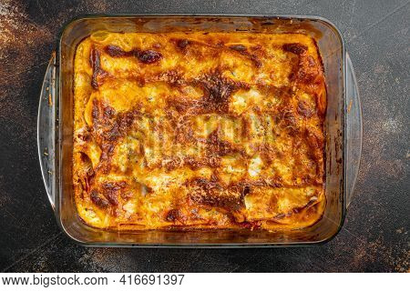 Traditional Lasagna Made With Minced Beef Bolognese Sauce Topped With Basil Leafs Set, In Baking Tra