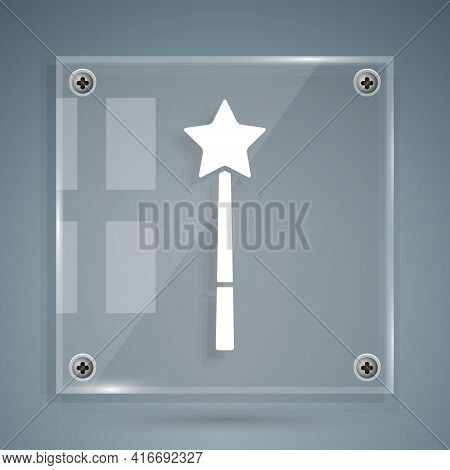 White Magic Wand Icon Isolated On Grey Background. Star Shape Magic Accessory. Magical Power. Square