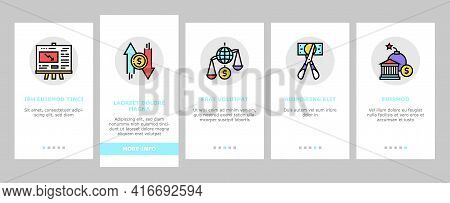 World Financial Crisis Onboarding Mobile App Page Screen Vector. Scissors Cutting Money Banknote And