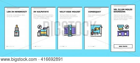Medical Drugs Production Factory Onboarding Mobile App Page Screen Vector. Pharmaceutical Production