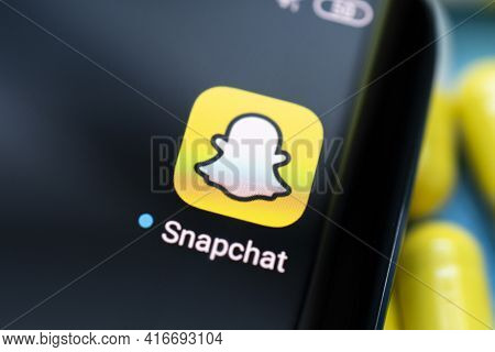 Snapchat App On A Black Android Smartphone Screen. April 3, 2021 Barnaul, Russia