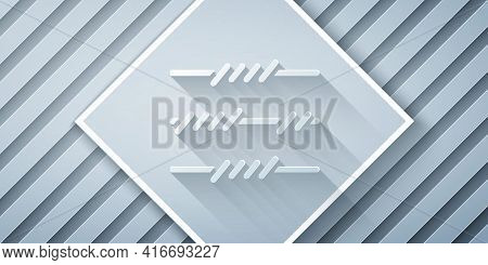 Paper Cut Barbed Wire Icon Isolated On Grey Background. Paper Art Style. Vector