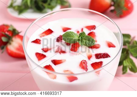 Yummy Drink With Strawberries In Glass, Closeup