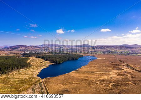 Aerial View Of Peatbog And Lake Ananima Next To The Town Glenties In County Donegal - Ireland.