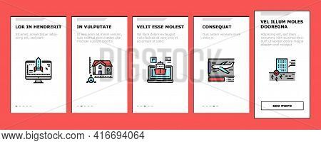 Modeling Engineering Onboarding Mobile App Page Screen Vector. Ship And Airplane, Bridge And Dam, Bu