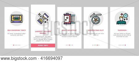 Nostalgia And Memory Onboarding Mobile App Page Screen Vector. Retro Music Cassette And Photo Camera