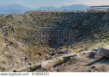 Remains Of Antique Theater In Abandoned City Laodicea, Denizli, Turkey. Ruins Of Audience Seats, Dro