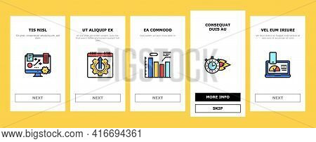 Productivity Manage Onboarding Mobile App Page Screen Vector. Energy Drink And Motivation, Working H