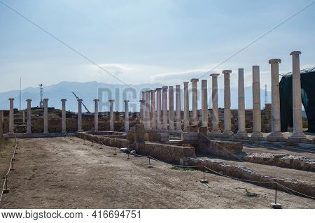 Panoramic View Onto Sacred Agora Of Laodicea, Surrounded By Colonnade. All Columns Made In Corinthea