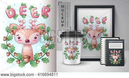 Deer In Leaf Poster And Merchandising. Vector Eps 10