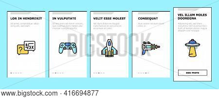 Geek, Nerd And Gamer Onboarding Mobile App Page Screen Vector. Chess And Video Game, Mathematics And